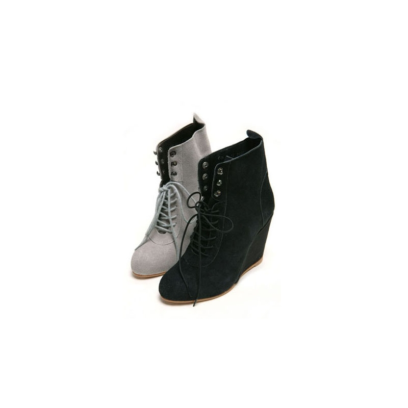 ... real suede celebrity womens high wedge lace up ankle booties black 4963123cc5