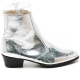 Mens glitter silver western zipper Ankle mid-calf boots made in KOREA US5.5-10.5