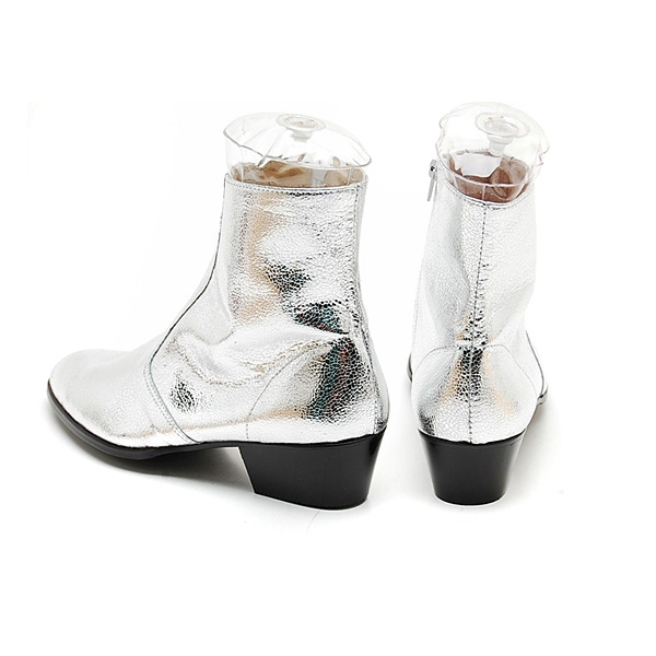 mens glitter silver western zipper midcalf ankle boots