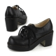 womens wear with oxford shoes celebrity lace up low heel enamel black
