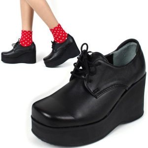 6a55f186fd35 womens high platform wedge lace up ankle oxford rock chic celebrity shoes