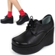 womens high platform wedge lace up ankle oxford rock chic celebrity shoes