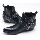 Mens punk rock chic stud chain western stitch 4cm heels ankle boots made in KOREA US7-10.5