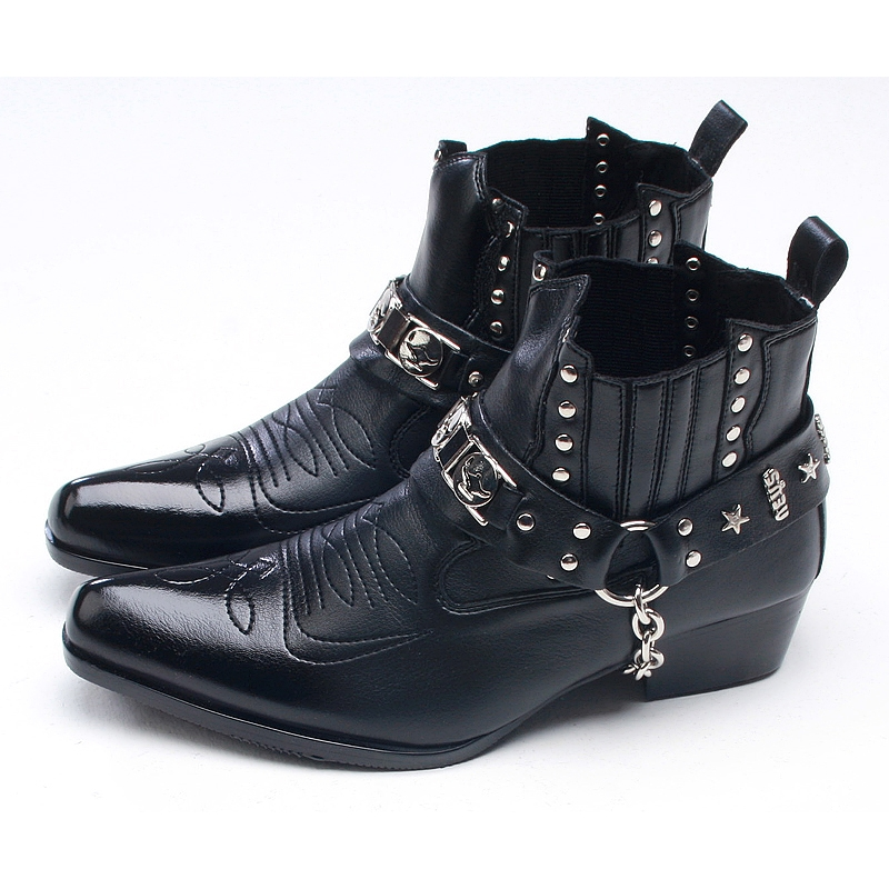 Mens Punk Rock Chic Stud Chain Western Stitch 4cm Heels