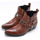 Mens brown punk rock chic stud chain western stitch 4cm heels ankle boots made in KOREA US7-10.5