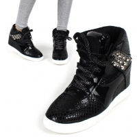 Womens Glitter Black Ankle high top hidden insole wedge heels fashion Sneakers