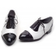 Men's Glossy Black & white Lace Up straight tips dress shoes