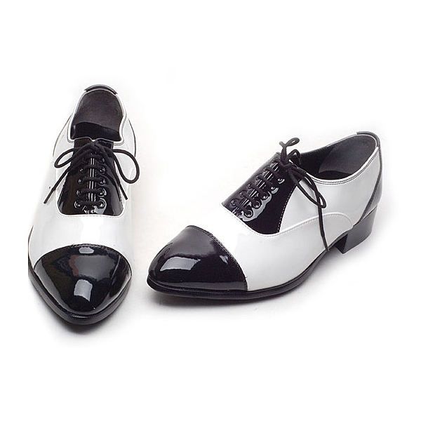 Mens Black White Lace Up Straight Tips Dress Shoes Made In Korea Us 6 5