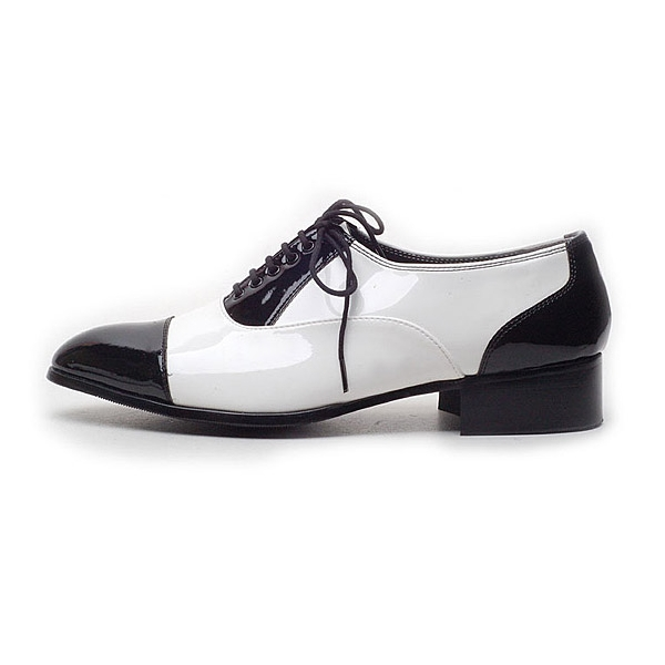 s glossy black white lace up tips dress shoes