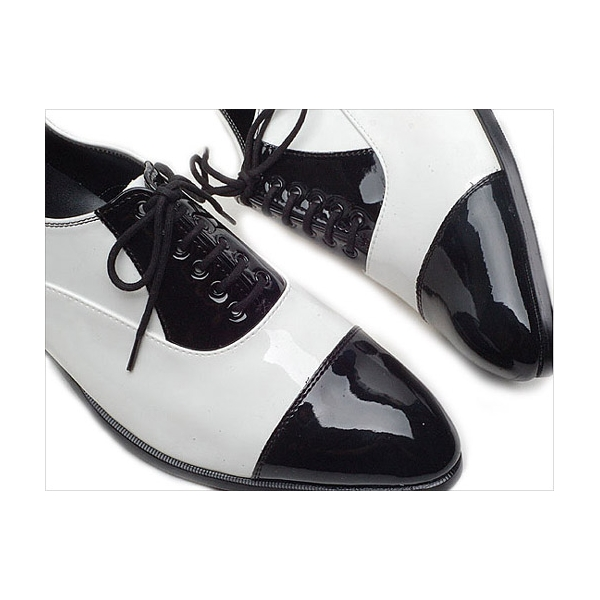 Men&39s Glossy Black &amp white Lace Up straight tips dress shoes