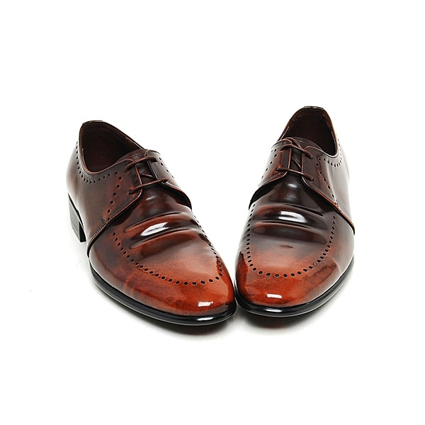 Mens real Leather Punching Oxfords dress Shoes