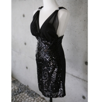 Womens Glitter spangle cap bra Party Club Slim Fit Cocktail Evening Dress BLACK