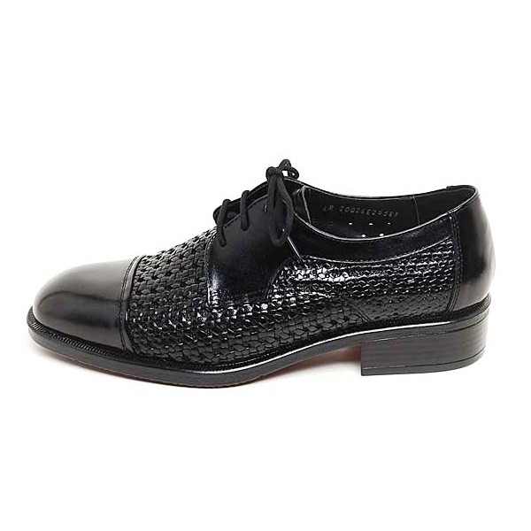 Mens Real Leather Mesh Lace Up Dress Shoes