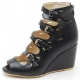 Womens Peep toe multi buckle strap back zip synthetic leather covered high Wedges Heels booties