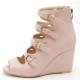 Womens pink Peep toe multi buckle strap back zip synthetic leather covered high Wedges Heels booties