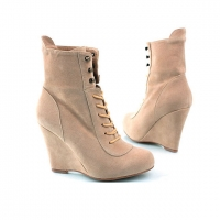 Urban Explore synthetic leather & faux suede Lace up Buckle  Platform High Heels Ankle combat boots