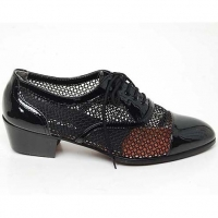 """Mens black mesh Lace Up 1.77"""" heel Dress shoes made in KOREA US 5.5 - 10"""