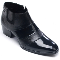 Mens real leather two touch band side zip high heel ankle boots black color made in KOREA