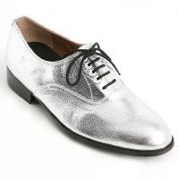 Mens oxford Lace Up dress shoes glitter silver made in KOREA US 5.5 - 10.5
