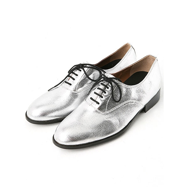 Mens oxford Lace Up dress shoes glitter silver made in KOREA US 5.5