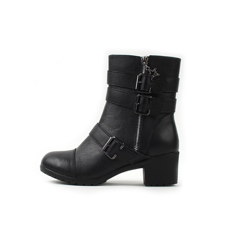d5672327ac3 Women s rock chic round toe med chunky heels buckle long ankle boots black