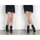 Women's rock chic round toe med chunky heels buckle long ankle boots black