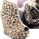 Womens open toe leopard fur thick platform zip high wedge heels ankle boots
