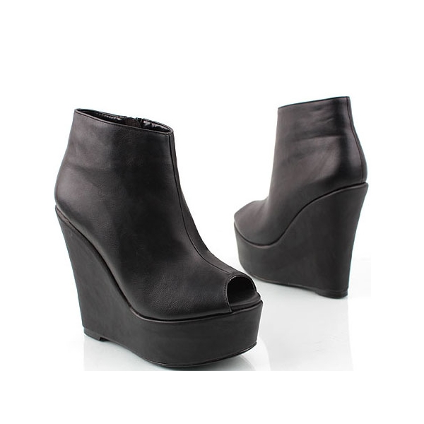 Womens Peep toe Platform Wedge Ankle bootie ...