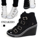Womens straight tip mulit buckle strap side zip platform high wedge heels fabric ankle fashion sneakers