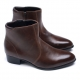 Mens round toe side zip low heel ankle boots