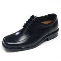 Mens 2.16inch UP square toe real cow Leather increase height Lace up Shoes made in KOREA US 5.5 - 10