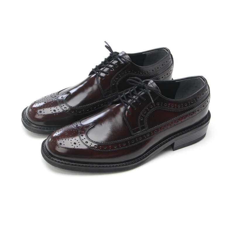 Mens Real Lealther Round Toe Wing Tip Punching Sch Lace Up Dress Shoes Oxford