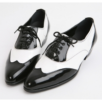 Mens black & white wing tip Lace Up high heel Dress dance party shoes made in KOREA US 5.5 - 10.5