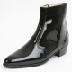 Mens inner real leather western glossy black side zip high heel ankle boots made in KOREA US5.5-10.5