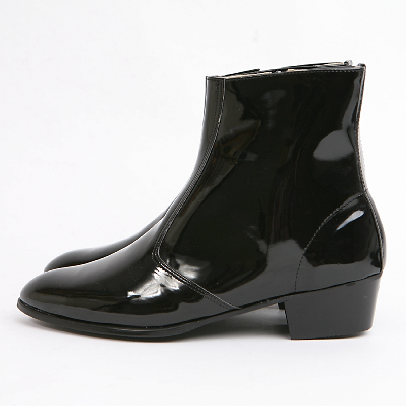 Mens Inner Real Leather Western Glossy Black Side Zip High