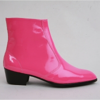 Mens inner real leather western glossy pink side zip high heel ankle boots made in KOREA US5.5-10.5