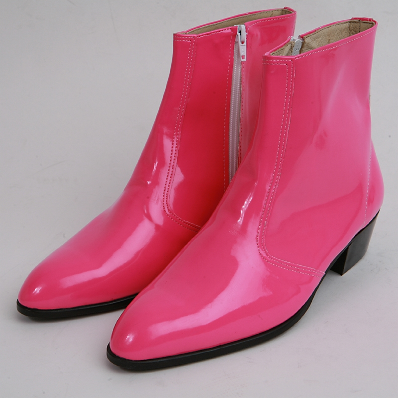 mens inner real leather western glossy pink side zip high