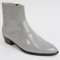 Mens inner real leather western glossy Gray side zip high heel ankle boots made in KOREA US5.5-10.5