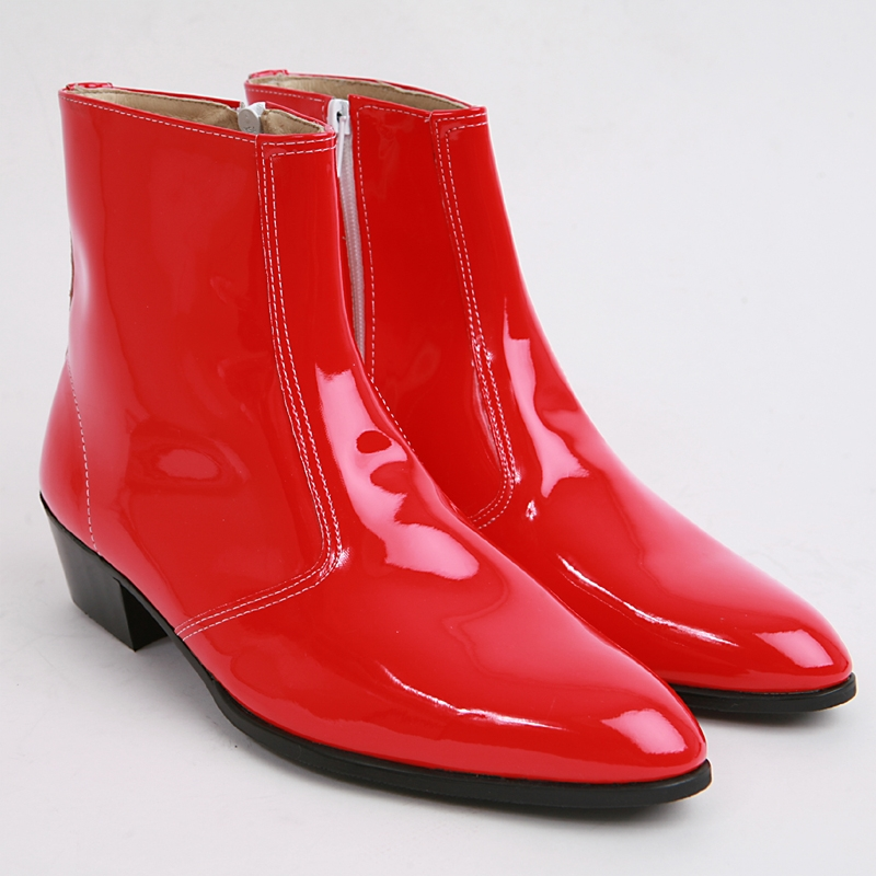 Mens inner real leather western glossy Red side zip high heel ...