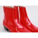 Mens inner real leather western glossy Red side zip high heel ankle boots made in KOREA US5.5-10.5