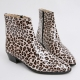 Mens inner real leather western glossy Leopard side zip high heel ankle boots made in KOREA US5.5-10.5