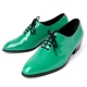 Mens round toe glossy Green dance lace up oxfords high heel dress shoes by Korea