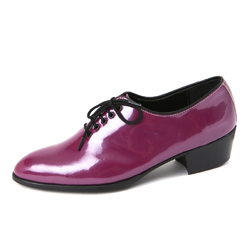 Mens round toe glossy Purple dance lace up oxfords high heel dress