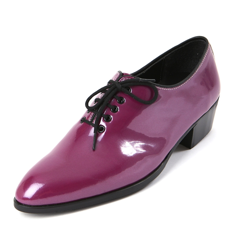 Mens Round Toe Glossy Purple Dance Lace Up Oxfords High
