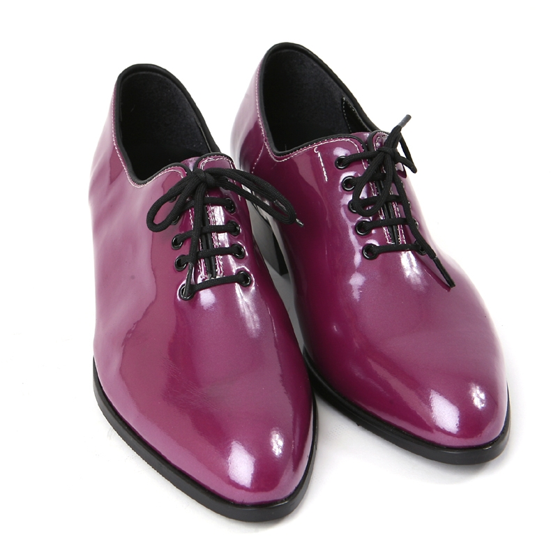 mens toe glossy purple lace up oxfords high