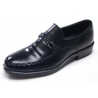 Mens U line stitch cow leather wrinkles urethane sole loafers Dress shoes black US 5.5 - 10.5