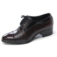 Mens straight tip geometric pattern cow leather rubber sole lace up dress shoes brown US 5.5 - 10.5