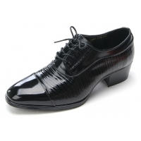 Mens straight tip geometric pattern black cow leather rubber sole lace up dress shoes US 5.5 - 10