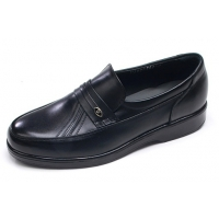 Mens round toe U line stitch black cow leather urethane sole loafers US 5.5 - 10