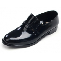 Mens round toe black cow leather rubber sole loafers US 5.5 - 10